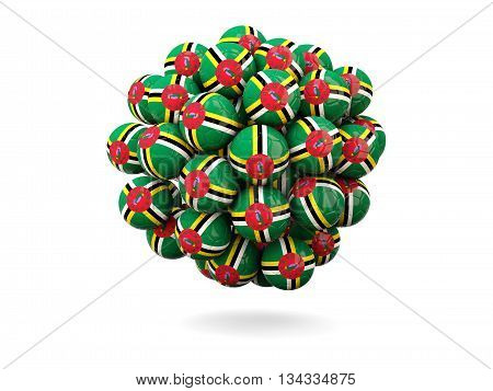 Pile Of Footballs With Flag Of Dominica