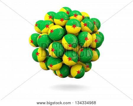 Pile Of Footballs With Flag Of French Guiana