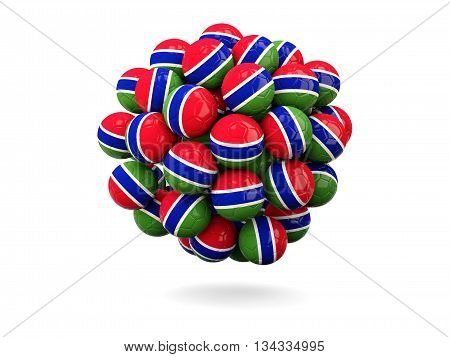 Pile Of Footballs With Flag Of Gambia