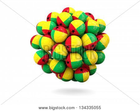 Pile Of Footballs With Flag Of Guinea Bissau