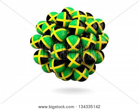 Pile Of Footballs With Flag Of Jamaica