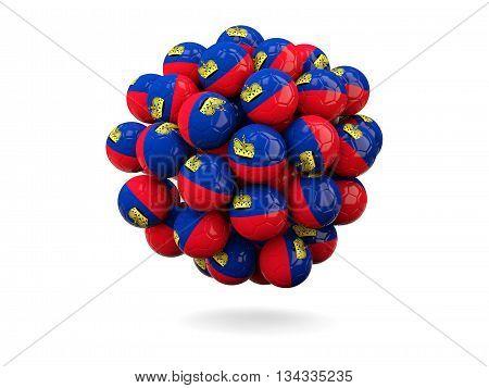 Pile Of Footballs With Flag Of Liechtenstein