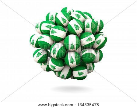 Pile Of Footballs With Flag Of Norfolk Island