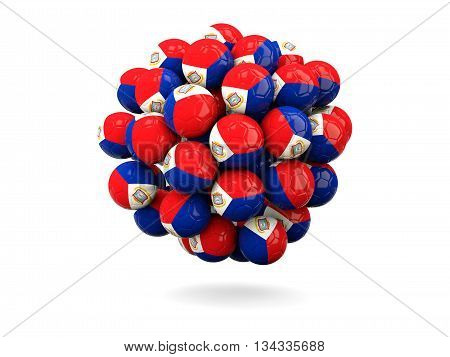 Pile Of Footballs With Flag Of Sint Maarten