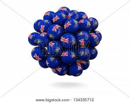 Pile Of Footballs With Flag Of South Georgia And The South Sandwich Islands