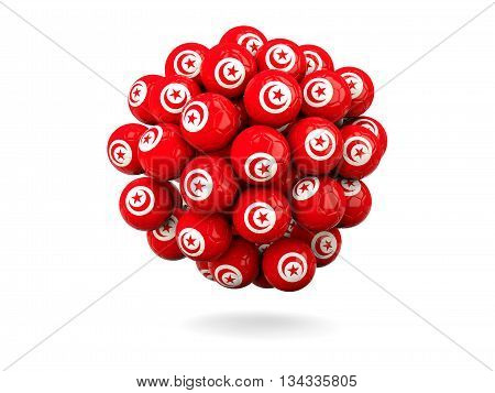 Pile Of Footballs With Flag Of Tunisia