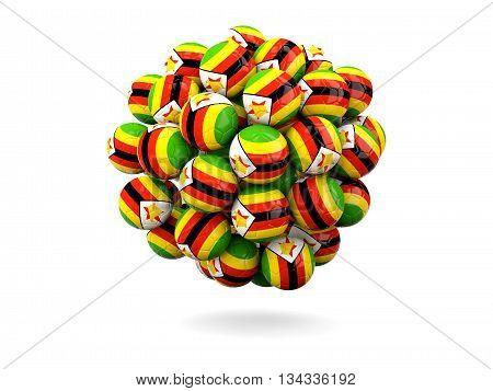 Pile Of Footballs With Flag Of Zimbabwe