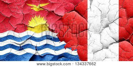 Kiribati flag with Peru flag on a grunge cracked wall