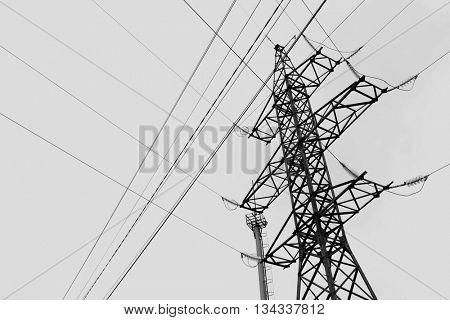 Electric pole on sky background