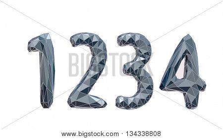 faceted number set 1, 2, 3, 4, 3d illustration