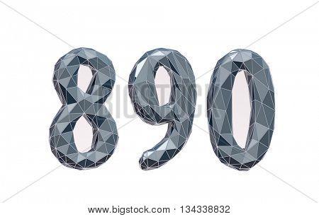 faceted number set 8, 9, 0, 3d illustration