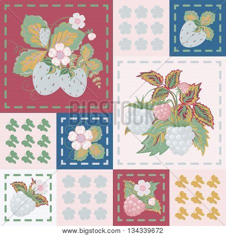 Patchwork background with strawberries and raspberries. Seamless vector pattern. Blue vinous pink backdrop.