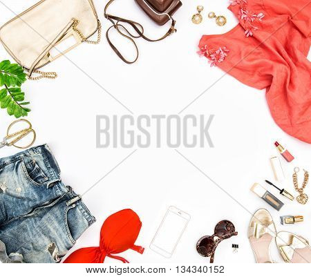 Fashion accessories cosmetics bag shoes. Hero header for feminine website bloggers social media