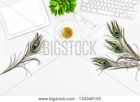 Office desk with keyboard tablet pc coffee green plant. Flat lay. Mock up