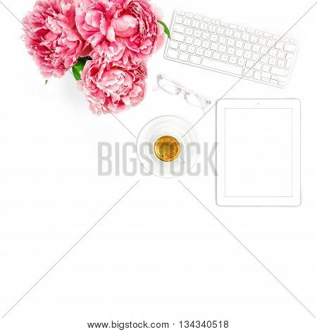 Tablet PC Keyboard Cup of Coffee. Home office workplace business lady. Flat lay for social media blogger