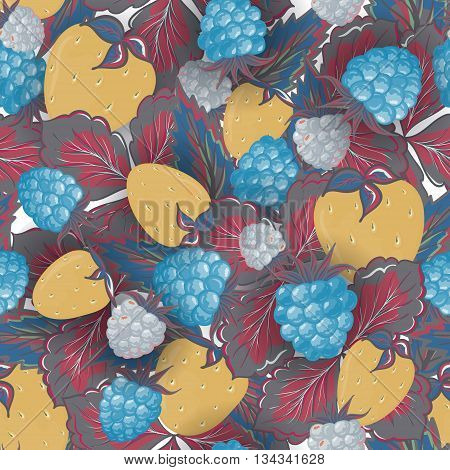 Seamless pattern of hand drawing image of delicious ripe raspberries and strawberries. Vector background. Pastel yellow blue vinous illustration.