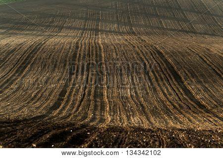 Plowed field in countryside in South Moravia, Czech Republic
