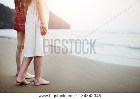 Woman Women Friend Together Emotion Beach Concept