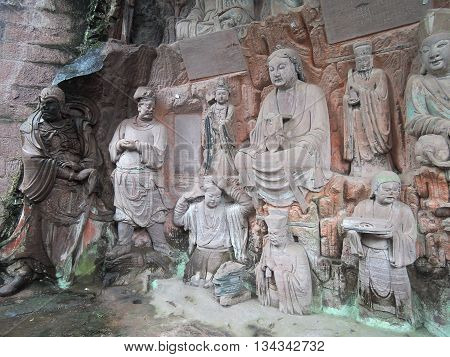 The complex of Buddhist rock sculptures Piludong located about 45 km south-east of the county capital Anyue, province Sichuan, China. The most impressive part of the complex are grotto of Buddha Vairocana (Pilu dong) and the famous sculpture