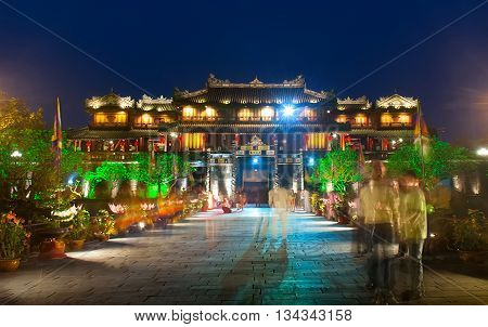 Hue, Vietnam, April 10, 2016 Hue ancient capital ruins, at night. World Heritage recognition