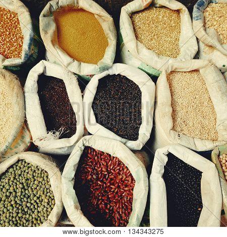 Sacks Legumes Grains Seed Lantil Ingredient Concept