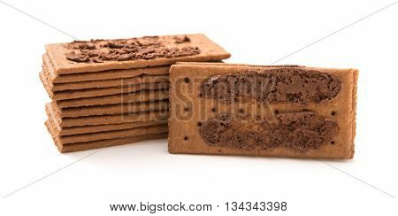 chocolate flavor sandwich biscuits opened on a white background