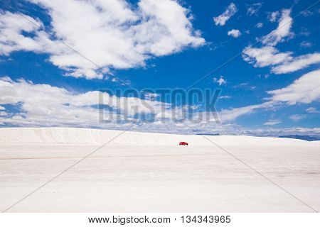 Beautiful cinematic deserted nature view under the blue cloudless sky in America. White sands.