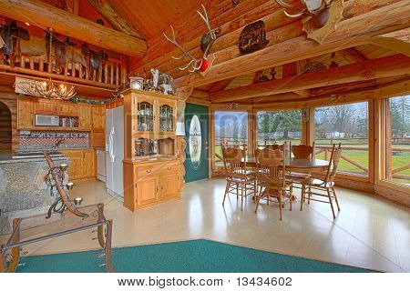 Rustic Log Cabin On The Horse Farm Dining Room And Kitchen