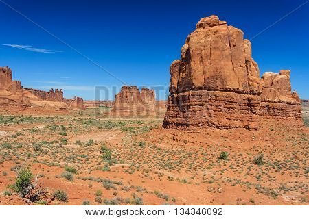 View Of Tower Of Babel, Courthouse Towers And Three Gossips In Arches National Park, Utah,  Usa