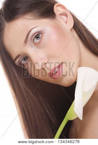 beautiful woman with calla flower isolated on white
