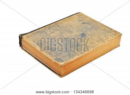 Ragged antique book isolated on white background