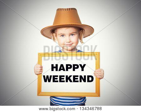 Blackboard. Text Happy Weekend