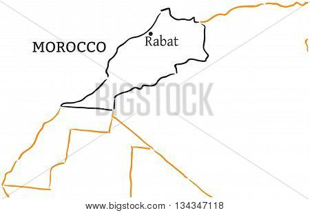 Moroco country with its capital Rabat in Africa hand-drawn sketch map isolated on white