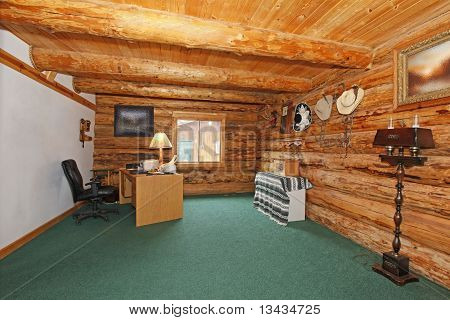 Log Cabin Office With Green Carpet And Desk