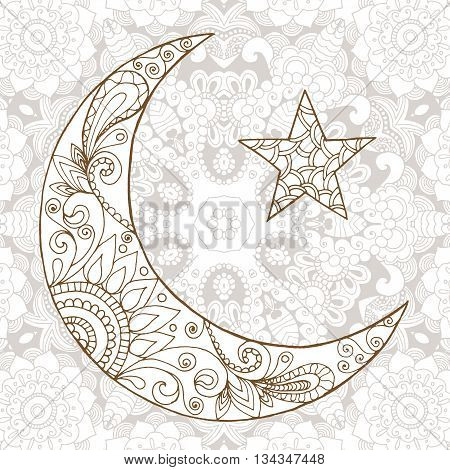 Ramadan Kareem half moon design background. Greeting design coloring page. Engraved vector illustration. Sketch for decoration poster print t-shirt.