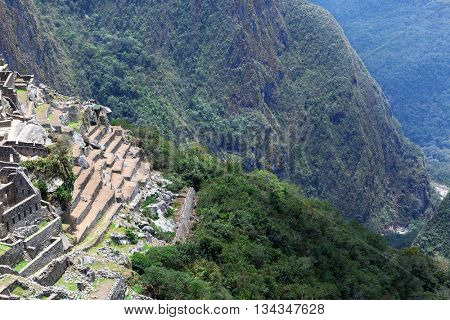 ruins and  old terraces in Machu Picchu