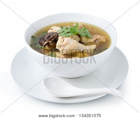 Closeup Traditional chicken broth on white background
