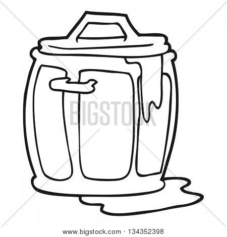freehand drawn black and white cartoon dirty garbage can
