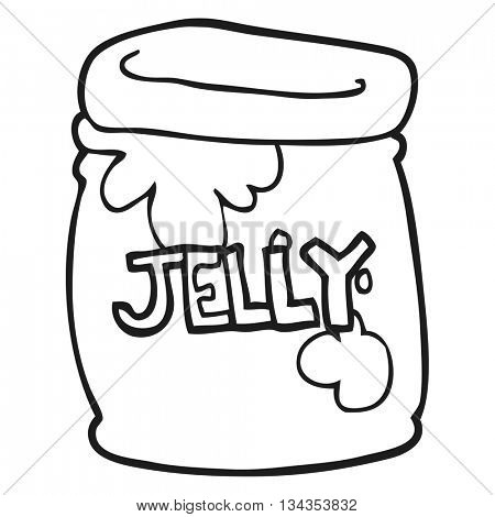freehand drawn black and white cartoon jar of jelly