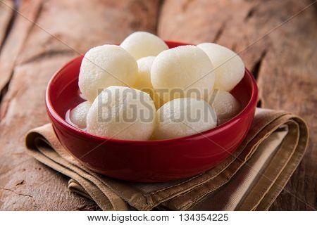 Bangladesh or india's favourite sweet rasgulla or rosogulla,  bengal sweets, made of milk / khoya, sweet meets