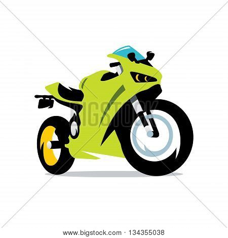Green Sport bike Isolated on a White Background