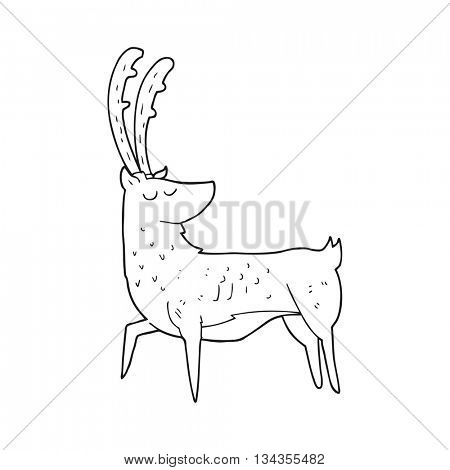freehand drawn black and white cartoon manly stag