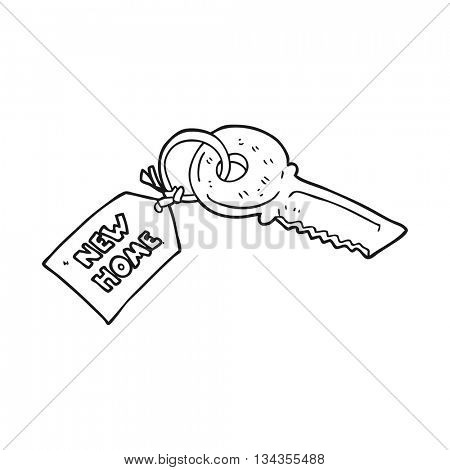 freehand drawn black and white cartoon house key with new home tag