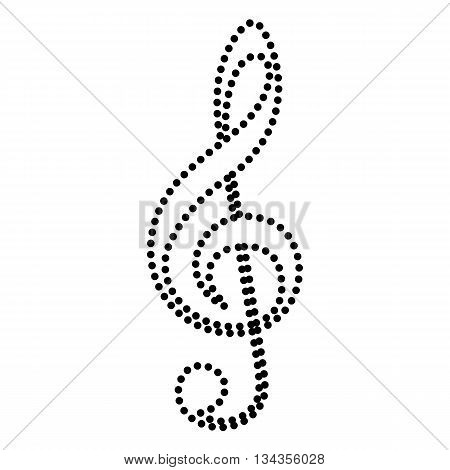 Music violin clef sign. G-clef. Treble clef. Dot style or bullet style icon on white.