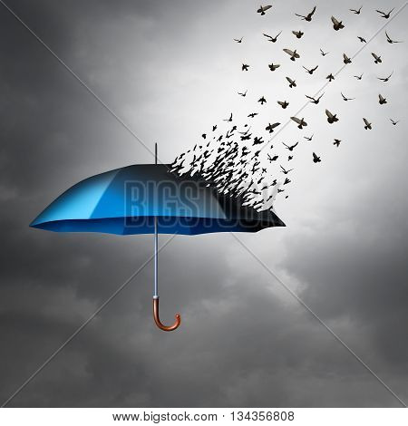 Protection freedom concept as an umbrella transforming into a group of flying birds as a metaphor for global security and risk and liberty symbol with 3D illustration elements.