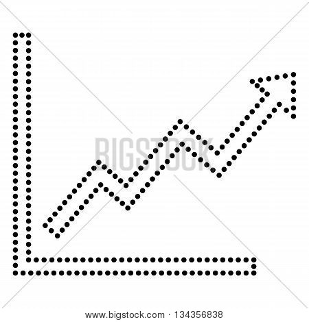 Growing bars graphic sign. Dot style or bullet style icon on white.