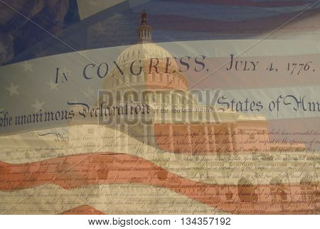 A patriotic image of The Declaration of Independence over a blended image of the United States Capitol and the American flag.