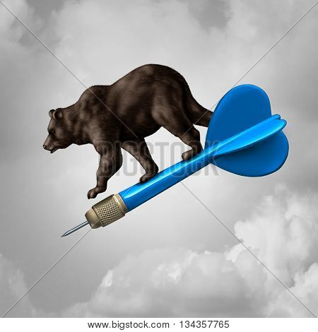 Bear market prediction missed target financial concept and losing stock goal business symbol as a pessimistic riding a dart downward towards failure as a finance icon with 3D illustration elements.