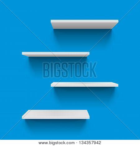 Four Horizontal gray bookshelves on blue background