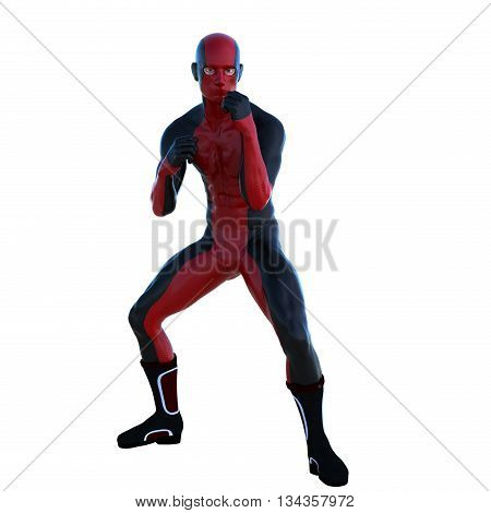 a young man in red black super suit. In boxing pose. Latex. 3D rendering, 3D illustration